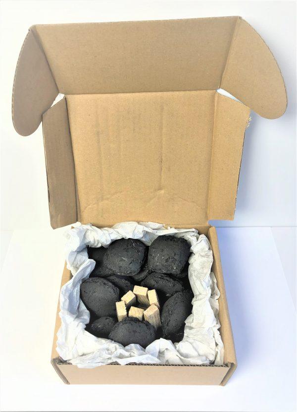 Medžio anglių briketų rinkinys su įdegėjais - 2